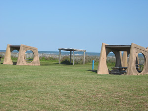 A view of the Galvestion public picnic area looking toward the gulf